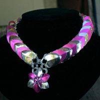 Pink and Silver Scale Collar with Scale Flower by Ichi-Black