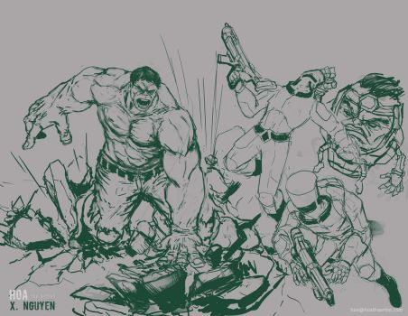 Hulk vs Aim Bros and MODOK by Hoabert