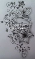 Heart and lily tattoo design by tattoosuzette