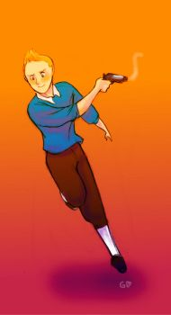 Tintin packing heat by Gorseheart