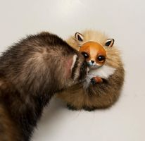 Ferret And Red Fox by RamalamaCreatures