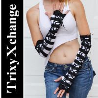 TX White corset arm warmers by TrixyXchange