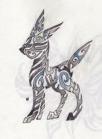 Shiny Umbreon Tribal Tattoo by Skrayle