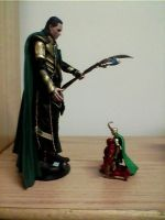 Mini!Loki+Mini!Iron Man kneeling before King Loki by JDLuvaSQEE