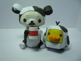 Relaxed bears in cow costume by Toshikun