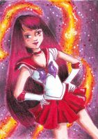 Sailor Mars on fire by MessiahDeath