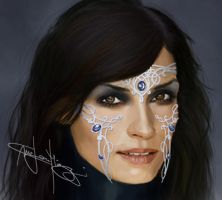Famke Janssen Fantasy Portrait by Rhykker