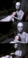 Alien kidnaps a woman by Gogolle