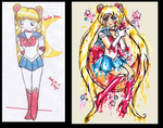2006 VS 2014 ~ Sailor Moon by bejja