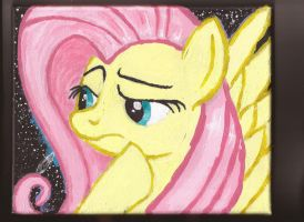 Fluttershy contemplates amidst the cosmos by Pwnyville