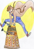 Commission: Dave and Dalek by hollyoakhill