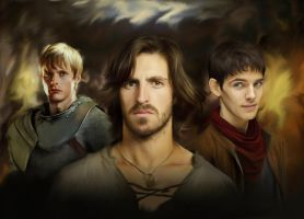 Gwaine, Arthur and Merlin by Nadia-Ch