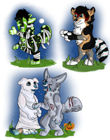 Halloween chibis by Aevaln