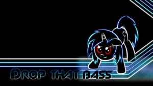 Vinyl Scratch Glow Wallpaper No Glasses BASS by SmockHobbes