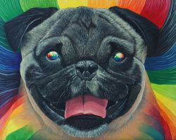 Psychedelic Pug by jkclayton
