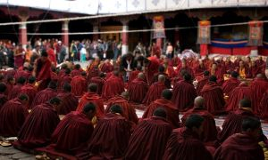 Monks in Tibet by themobius