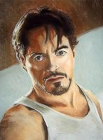 RDJ as Tony Stark, pastels by selderaya