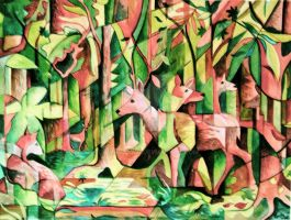 Deer in the forest by DawnyDawn
