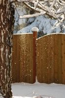 Snow Falling with Fence 1 by happeningstock