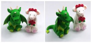Dragon and Rat Wedding Cake Topper by HeartshapedCreations