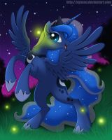 Princess Luna and Fireflies by Nyaasu