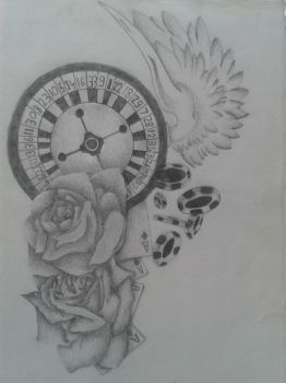 Flying Roulette Tattoo Design by ProTxtics