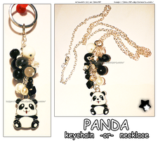 Hand Made Black White Panda Keychain or Necklace by izka-197
