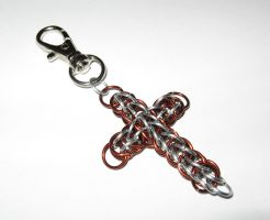 Chainmail Cross Keychain by Tannalein