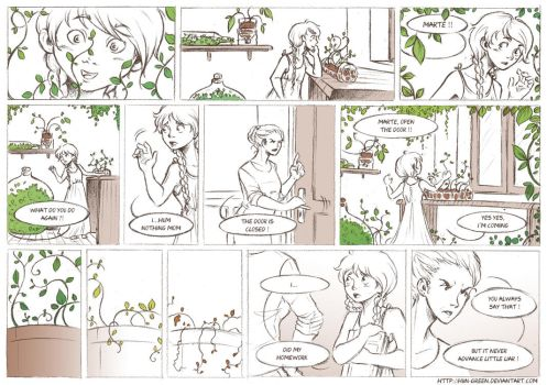 The Little Girl With Plants by Hiin-Green