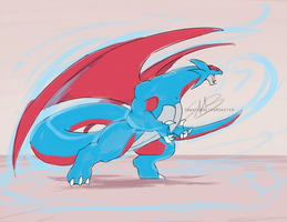 Comm - Salamence Anthro by SpottedAlienMonster
