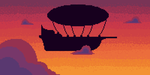 Airship Sunset by CardboardF0x