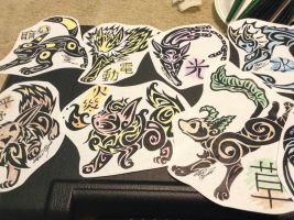 Eeveelution badges colored by Tatta-doodles