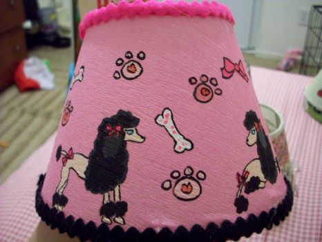 Pink Poodle Lampshade by Gippaloo
