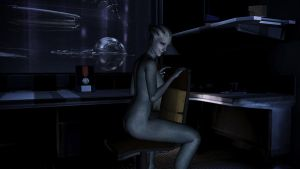 Liara T'Soni on chair by Hallucinogenmushroom