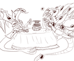 #527 Teatime for dimensional dragons (Sketch) by Alise-chan-oWo
