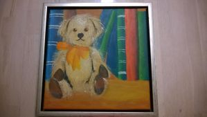Painted Teddybear In Front Of Books 2 by rake0062