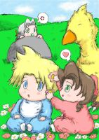 Baby Cloud and Baby Aerith by ViralJP