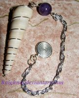 Seashell and Amethyst Pendulum by LapysFireFly