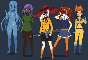 Humanized Genderbent Fearsome Five by Harmony-Borealis