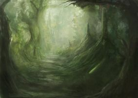 Forest photoshop painting by karlfoom