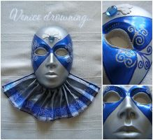 Blue and silver Venetian mask by sleepwalkerfish