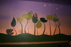 Owl forest wall mural by Snowboardleopard