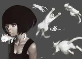white cats girl by cuson