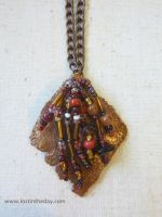Beaded Leaf Skeleton Pendant by Lost-in-the-day