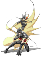 Batgirl and Robin by LazerBat