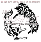 Yin Yang Aggressive Wolves Tribal Design by WildSpiritWolf