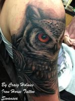 Owl with roses tattoo by Craig Holmes by CraigHolmesTattoo