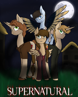 Supernatural-The Winchester Trio and an Angel by PonyFloof