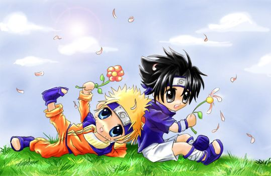 Naruto and Sasuke FLOWER POWER by anael