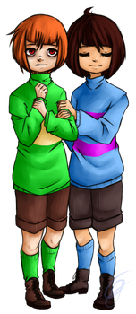 Chara and Frisk by Cogroni